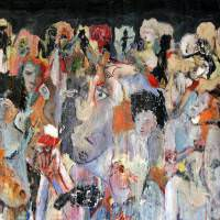 Mur de têtes, Priscille Deborah, artiste peintre expressionniste