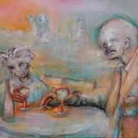 Les buveurs de lune I, Priscille Deborah artiste peintre expressionniste sensualiste