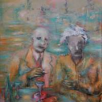 Les buveurs de lune III, Priscille Deborah artiste peintre expressionniste sensualiste