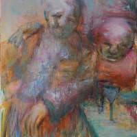 Les buveurs de lune V, Priscille Deborah artiste peintre expressionniste sensualiste