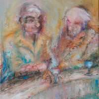 Les buveurs de lune VI, Priscille Deborah artiste peintre expressionniste sensualiste