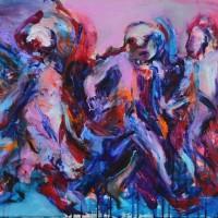 Ombres de feu I, Priscille Deborah artiste peintre expressionniste sensualiste