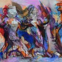 Ombres de feu II, Priscille Deborah artiste peintre expressionniste sensualiste