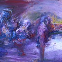 Purple night, Priscille Deborah artiste peintre expressionniste sensualiste