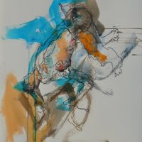 Sanguine #V, Priscille Deborah artiste peintre expressionniste sensualiste