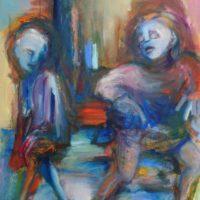 Ne te retourne pas, Priscille Deborah artiste peintre expressionniste sensualiste