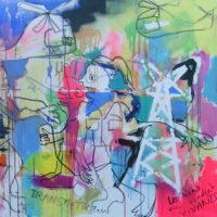 Entre les lignes n°3, Priscille Deborah, artiste peintre expressionniste sensualiste
