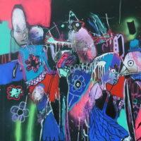 Oiseaux de nuit #I, Priscille Deborah, artiste peintre expressionniste sensualiste