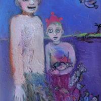Dans la nuit bleu pétrole, Priscille Deborah, artiste plasticienne expressionniste sensualiste